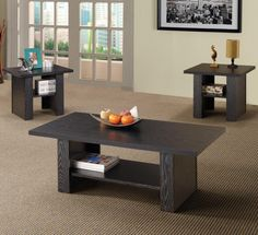 Coaster 3 Piece Occasional Table Set in Black Finish Includes one coffee table and two end tables. Square end and rectangular coffee table. Coffee Table End Table Set, End Table Sets, A Table, Side Tables, Coaster Furniture, Table Furniture, Living Room Furniture, Fine Furniture, Empire Furniture
