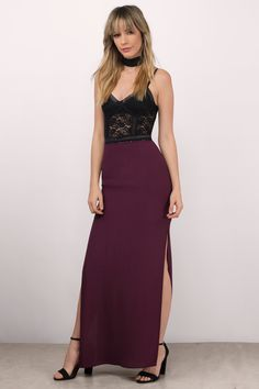 """Search """"Beat The Sunrise Wine Maxi Skirt"""" on Tobi.com! pair this gorgeous floor length side split maxi skirt with any sexy or glam bodysuit for an out of the box red carpet look! Change up the formal dress seen with a mix of different dressy blouses and tops paired with this sultry wine red colored long skirt."""