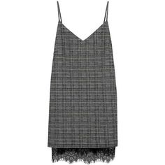 MOSLE Checkered Houndstooth Plaid Double Layers Cami Dress (€90) ❤ liked on Polyvore featuring dresses, cami dress, camisole dress, plaid dresses, check print dress and double layer dress
