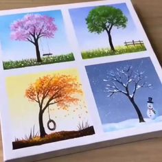Simple Canvas Paintings, Diy Canvas Art, Painting Trees On Canvas, Coffee Painting Canvas, Multiple Canvas Paintings, Tree Paintings, Indian Paintings, Painting Art, Canvas Painting Tutorials