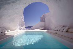 Cave pool in Satorini, Greece.