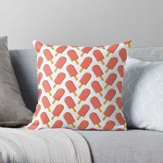 'Red Ice Cream' Throw Pillow by MadoMade Orange Throw Pillows, Bubble S, Cute Strawberry, Best Pillow, Designer Throw Pillows, Pillow Design, Sell Your Art, Wall Murals