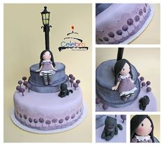 Gorjuss in Lilac Cake - hand molded and painted by The-Nonexistent. I love the painted trees along the base of the cake and the beautifully sculpted figures and lamp post.