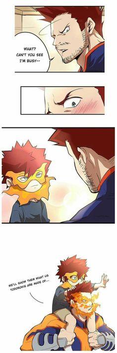 I hate Endeavor but this is cute soooooo. Boku No Hero Academia Funny, My Hero Academia Shouto, My Hero Academia Episodes, Hero Academia Characters, Wallpaper Animes, Animes Wallpapers, Bakugou Manga, Villain Deku, Funny Anime Pics