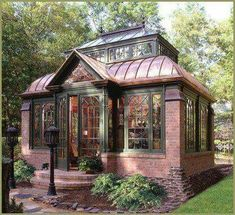 brick greenhouse #conservatorygreenhouse