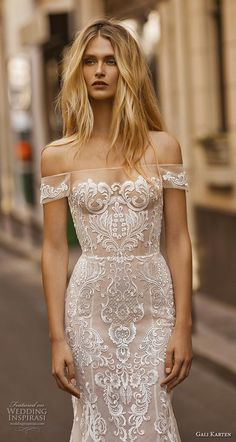 gali karten 2019 bridal off the shoulder neckline full embellishment elegant glamorous fit and flare trumpet wedding #dress medium train (3) zv -- Gali Karten 2019 Wedding Dresses | Wedding Inspirasi #wedding #weddings #bridal #weddingdress #bride ~