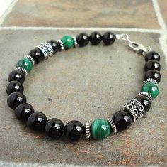 Black and Green Stone Bracelet for Men Malachite by mamisgemstudio, $32.95