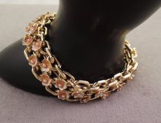 Sweet Gold Tone Bracelet with Enameled Flowers 1950-60s by thejeweledbear on Etsy