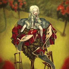 """""""Red roses"""" (detail) extrait de """"Alice au pays des merveilles"""" gouache & huiles sur papier, 2015 - by Benjamin Lacombe"""