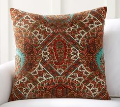 "Sabrina Printed Velvet Pillow Cover, 24"", Red Multi"