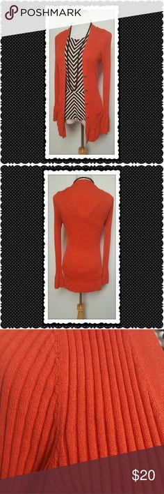 Banana Republic Red Ribbed Sweater Banana Republic red ribbed sweater. V neck sweater, button closure. Lightweight fabric. Hip length. Perfect,  no flaws. Banana Republic Sweaters Cardigans