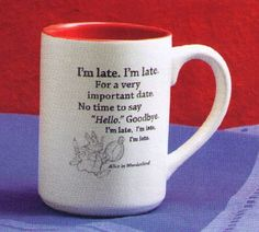Disney alice in wonderland Coffee Cups and Mugs | Hallmark Disney DYG9043 I'm Late I'm Late Ceramic Mug