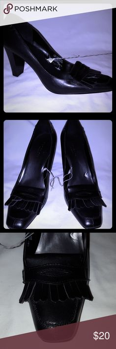 "NWOT Isaac Mirzahi Black Leather Office Heels 9 Isaac Mizrahi for Target black leather office heels. Leather fringe on top of shoe. Heels are 3 1/2"".   Never worn. Strings still attached. No tags or box. Smoke free and pet free home. Isaac Mizrahi Shoes Heels"