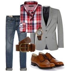 Look social com camisa xadrez e calça jeans.