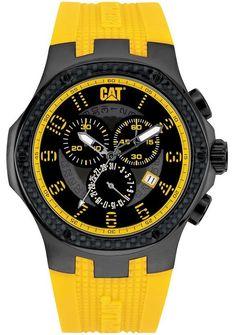 Caterpillar Men s Carbon Chrono Analog Watch A516327117 Rubber Yellow a65bee5b713