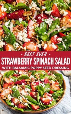 The best ever Spinach Strawberry Salad with Balsamic Poppyseed Dressing, pecans, and feta or goat cheese. This beautiful, healthy salad is always a hit and perfect for parties. Keep it vegetarian or add chicken to make it a main event! via healthy salads Chicken Salad Recipes, Healthy Salad Recipes, Spinach Salad Recipes, Healthy Salad For Lunch, Balsamic Salad Recipes, Spinach Feta Salad, Summer Vegetarian Recipes, Side Salad Recipes, Summer Salad Recipes