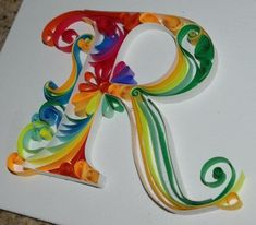 """A gift I made for someone. My first quilling project using ¼"""" paper. Arte Quilling, Quilling Letters, Paper Quilling Flowers, Quilled Paper Art, Paper Quilling Designs, Quilling Paper Craft, Paper Crafts, Quilling Ideas, Origami"""