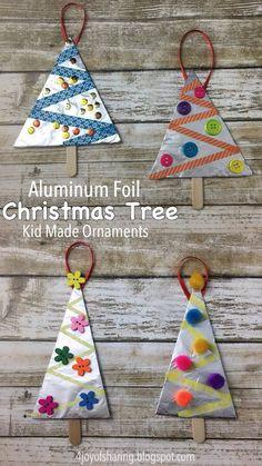 Aluminum Foil Christmas Tree Ornaments #ChristmasOrnaments #ChristmasCrafts #ChristmasTree #KidMadeChristmas