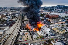 A major fire broke out early Tuesday morning in San Francisco near 14th & Shotwell, quickly engulfing several commercial buildings. Wyrsch commended PG&E for shutting off the power lines as quickly as possible, as well as the city's water department, which helped fire crews deploy high-pressure water after they exceeded what was available from nearby hydrants.