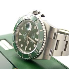 Rolex Oyster Perpetual Submariner Date, Model 116610LV, Size 40 mm, Bezel with Green Ceramic Insert. #Rolex #Submariner #116610LV #LuxuryWatch