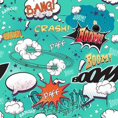 comics page with bubbles for speech, different sounds,arrows. - Fototapety Inne - Dekowizja.pl