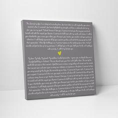 Valentine S Day Gift Wedding Vow Art For Him By Thestandardcanvas Weddingvows