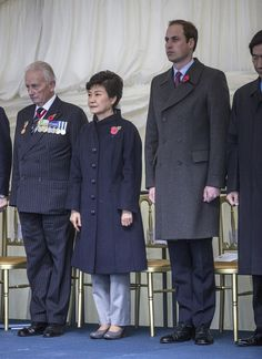 Prince William, Duke of Cambridge, talks to British veterans of the Korean war following a ground breaking ceremony with the President of the Republic of Korea Park Geun-hye, at the proposed site of the new Korean war memorial in Victoria embankment gardens opposite the ministry of defence 5 Nov 2013