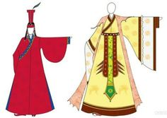 Left: Yuan(Mongolian) style goryeo queen/princess dress Right: Goryeo style queen/princess dress. Goryeo Dynasty(AD918-1392) Korean traditional clothes #hanbok 고려시대