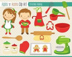 Christmas Baking Clip Art - color and outlines $