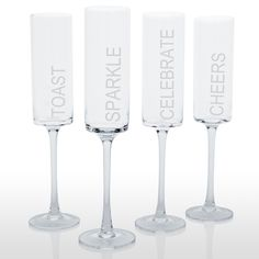 Celebrate! Contemporary Champagne Flutes (Set of 4) - Overstock™ Shopping - Big Discounts on Toasting Flutes