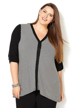 Mitered Stripe Hi Lo Shirt-Plus Size Shirt-Avenue