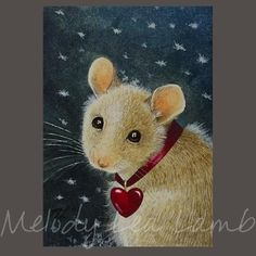 Look at that sweet face ~  Mouse Art by Melody Lea Lamb via Etsy