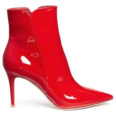 Gianvito Rossi 'Levy 85' patent leather ankle boots (3.410 BRL) ❤ liked on Polyvore featuring shoes, boots, ankle booties, red, red boots, patent ankle boots, patent boots, patent leather ankle boots and red ankle boots