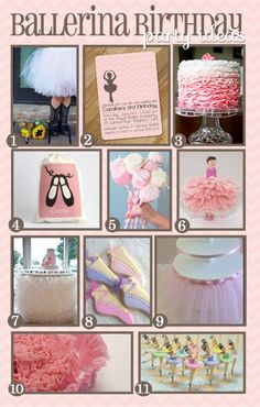 ballerina inspiration board... plus in this post she has a Pinterest link for HER ballerina party board