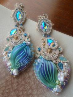 """""""Nefertari"""" Earrings - Designed by Serena Di Mercione - Beadembroidery and Soutache - Shibori silk, Swarovski, pearls."""