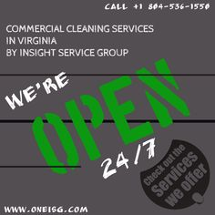 COMMERCIAL CLEANING SERVICES IN VIRGINIA ⁃ OFFER Running: discount available to all new customers. Insight Service Group provide fully bonded & insured reliable and trusted service with satisfaction assurance. Call our fully staffed office at Commercial Cleaning Company, Cleaning Companies, Medical Dental, Best Commercials, School S, To Focus, Insight, Virginia, Restaurants