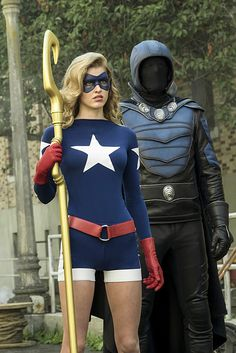 Legends of Tomorrow: Justice Society of America: Stargirl/Sarah Grey & Obsidian/Dan Payne (past Justice Society Of America, Live Action, Sarah Gray, Cw Dc, Dc Legends Of Tomorrow, Dc Movies, Comic Movies, Comic Books, Star Girl