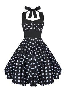 abca21a00944b Rockabilly Dress Black Polka Dot Dress Swing Dress Pin Up Dress Vintage 50s  Dress Retro Dress Gothic Clothing Halter Dress Swing Party Dress