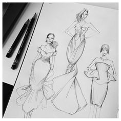 fashion drawing Vikki Yau fashionary More - Having the proper supplies is a critical part of making a good fashion sketch. In this article, Vikki Yau from Fashionary shares her favorite fashion sketching tools. Illustration Mode, Fashion Illustration Sketches, Fashion Sketches, Fashion Illustration Tutorial, Fashion Design Sketchbook, Fashion Design Drawings, Dress Sketches, Fashion Figures, Estilo Retro
