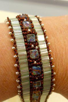 Seafoam green and copper tila bracelet. $40.00, via Etsy.