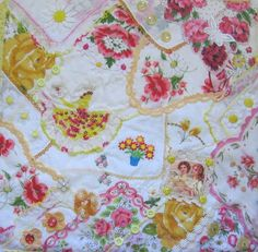 Mini Hankie Crinoline Lady Angels Recycled Art Quilt Shabby Chic Cottage Floral