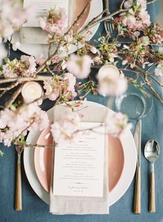 cherry blossom wedding inspiration - rose gold details for a spring summer tablescape and floral arrangement for a centerpiece