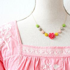 Rosy Flower Chain Necklace Gold Filled or by NestPrettyThingsShop
