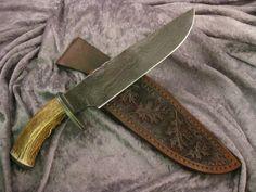 2 Antler Bowies - CJ Custom Knives