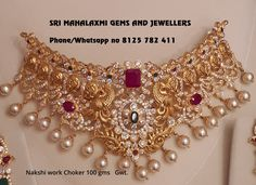 New designs for Navarathri season added Presenting here is a Nakshi work choker Get 100 gm plus Jhumke 34 gms. Visit for best prices on full variety. Contact no 8125 782 411 for orders. Jewelry Design Earrings, Gold Jewellery Design, Gold Jewelry, Designer Jewellery, Necklace Designs, Pendant Jewelry, Jewelry Sets, Jewelery, Gold Chocker Necklace