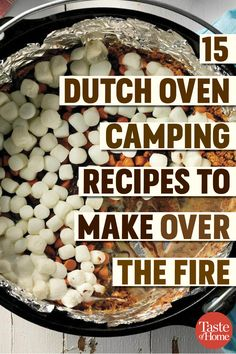 Camping out? Skip the grill and try these easy Dutch oven camping recipes. They're super satisfying and perfect for feeding a hungry crowd of Dutch Oven Camping Recipes to Make Over the Fire Camping Desserts, Camping Recipes, Camping Dishes, Camping Foods, Good Camping Meals, Vegetarian Camping, Camp Meals, Camping Kitchen, Camping Hacks