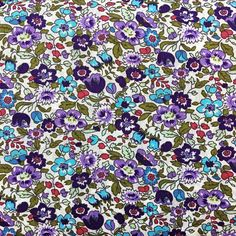 Violet Floral Fabric 100% Cotton Fabric Fabric for Sewing