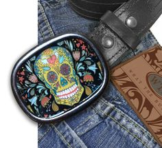 Sugar Skull Day of the Dead Belt Buckle  Black by What The Buckle on etsy.com