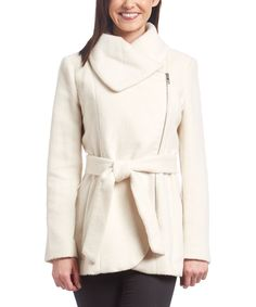 Jessica Simpson Collection Ivory Asymmetrical-Zip Belted Coat | zulily