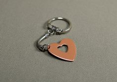 Copper heart key chain personalized for Mothers Day by NiciLaskin